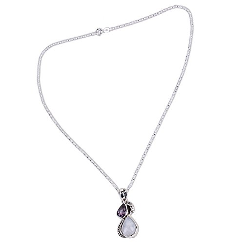 NOVICA Amethyst Rainbow Moonstone .925 Sterling Silver Pendant Necklace, 18 Two Teardrops