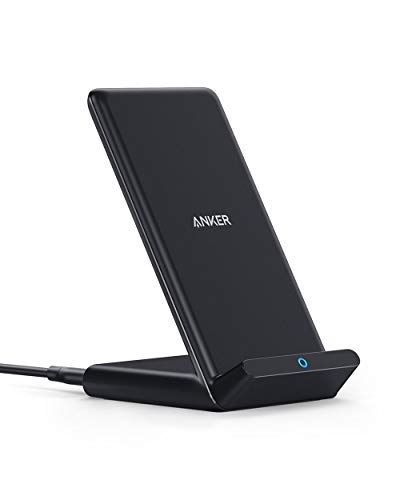 Anker Wireless Charger, 10W Wireless Charging Stand, Qi-Certified, Compatible iPhone XR/Xs Max/XS/X/8/8 Plus, Fast-Charging Galaxy S10/S9/S9+/S8/S8+/Note 9/Note 8, PowerWave Stand (No AC Adapter)