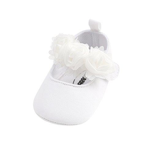 Isbasic Baby Boys Girls Flat Shoes Toddler Soft Sole Mary Jane Pincess Christening Baptism Crib Shoes (0-6 Months, Cotton White) -
