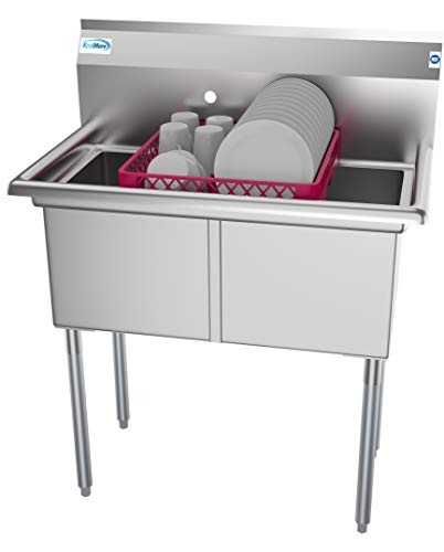 KoolMore 2 Compartment Stainless Steel NSF Commercial Kitchen Prep & Utility Sink - Bowl Size 15 x 15 x 12 ()