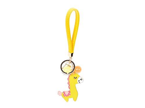 Damara Lovely Alloyed Yellow Horse Key Pendant Key Rings With PU Strap,Yellow