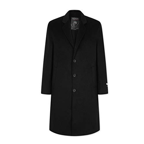 In Nero Size Di Vento Black Piatto Bottone A Cappotto Giacca Calda color xl Black Lungo Lana Monopetto 180 Uomo Cappotti Da w5qfT6