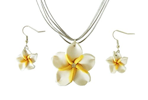 BetteRWeatheR Hawaiian Plumeria Flower Necklace and Earring Jewelry Set Handmade Beach Girl Reggae Jamaican Jewelry Adjustable (White) (Flower Fimo Hawaiian)