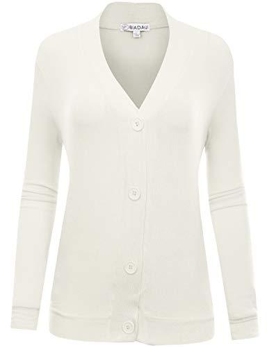 - BIADANI Women's Long Sleeve Button Cardigan witih Pockets Ivory XXX-Large