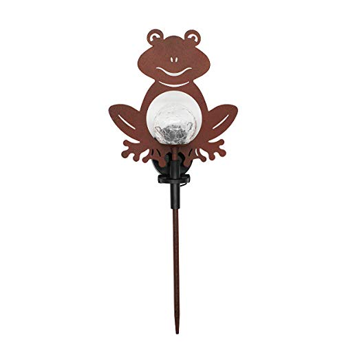 VOTENVO Solar Powered Light Outdoor, Metal Frog Crackle Glass Globe Stake Lights, LED Decorative Garden Lights for Patio, Pathway, Yard, Lawn (Frog)