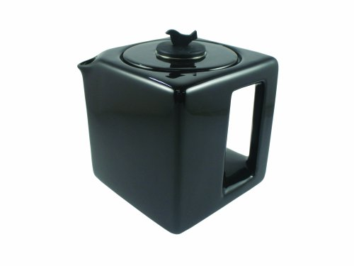 Make My Day Tea Cube Ceramic Teapot with Infuser, Black with Black Accent