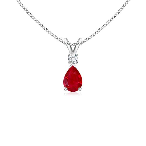 Ruby Teardrop Pendant with Diamond in 14K White Gold (6x4mm Ruby)