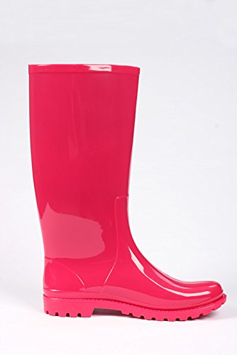 Mei 1 Heart Perforated Ladies Wellies Wellington Rain Boots Pink HugoJ