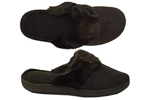 Isotoner Women's Microsuede Tammy Clog Slipper, Black ()