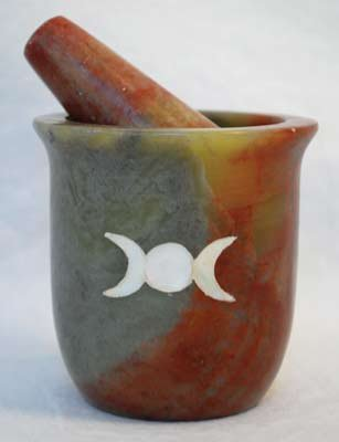 Pearl Inlain Triple Moon Soapstone Mortar and Pestle Set AzureGreen LMS32