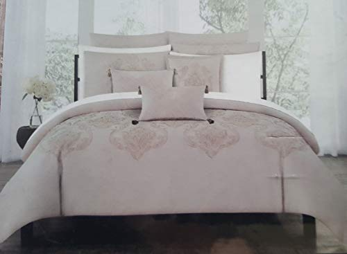 Tahari Home King Duvet Cover Set Marossy Embroidered Damask Medallions Metallic Gold on Rose Blush Pink 3 Pc Bedding