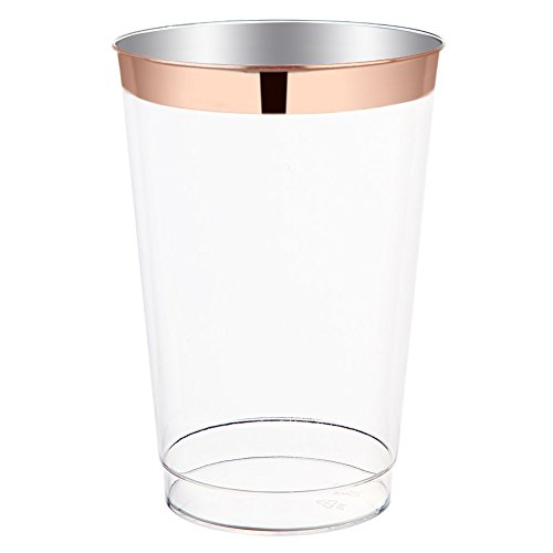 (12oz Rose Gold Plastic Cups-100pack Clear Plastic Cups with Rose Gold Rim-Wedding/Party Disposable Cups-Heavyweight Plastic Tumblers-WDF (Rose Gold Trim))