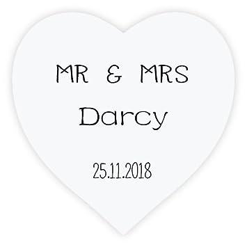 Ekunstreet 48x personalised heart mr mrs stickers 38mmx38mm wedding favour stickers labels