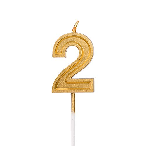 LUTER Gold Glitter Happy Birthday Cake Candles Number Candles Number 2 Birthday Candle Cake Topper Decoration for Party Kids Adults]()