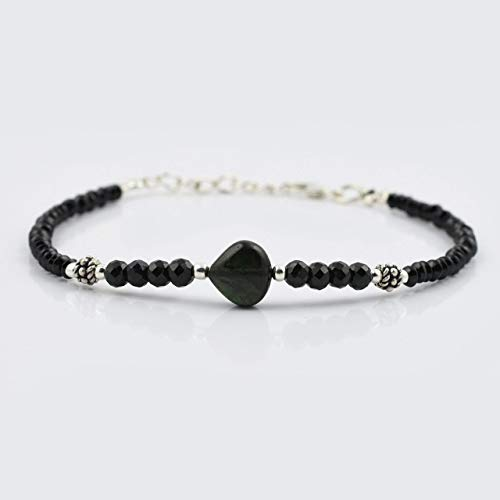 (Black Spinel Heart Beads Bracelet with Sterling Silver Findings Handmade Gemstone Jewelry)