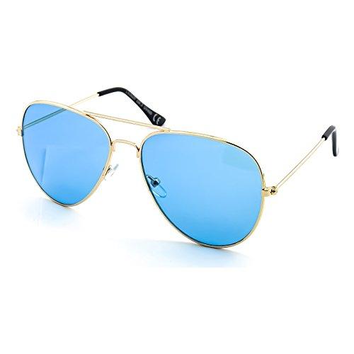 Claro sol Gafas vintage Oro de TOP hombre AVIADOR GUN Culto unisex Retro Azul de KISS® mujer AHZqwH