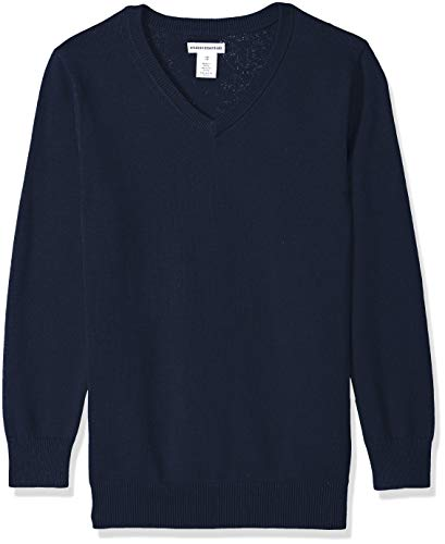 Amazon Essentials Little Boys' Uniform V-Neck Sweater, Navy Blazer, XS