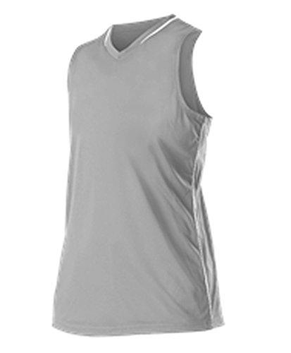 Racerback Softball Jersey (Alleson Girls Racerback Fastpitch Jersey Grey, White M 551JWY 551JWY-GRWH-M)