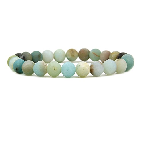 Amazonite Bracelet - Natural Matt Multicolor Amazonite Gemstone 8mm Round Beads Stretch Bracelet 7