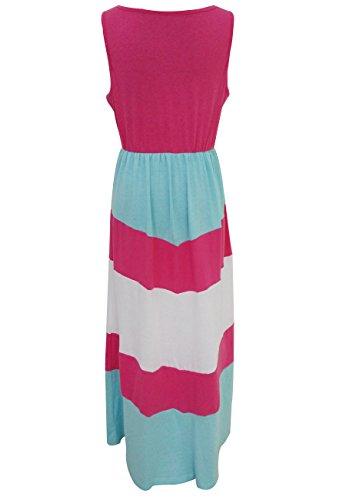 OMZIN vestido de costura de rayas madre y hija vestido de playa largo y largo de maxi Rose Red