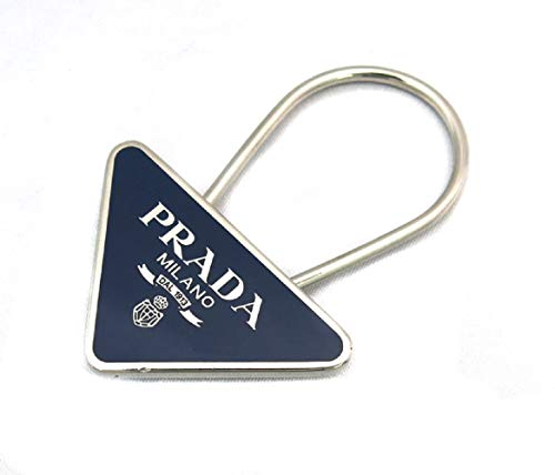 (Prada Portachiavi Smalto Navy Enameled Metal Triangle Logo Keychain Ring 2PS395)