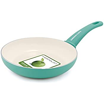 """GreenLife Soft Grip 8"""" Ceramic Non-Stick Open Frypan, Turquoise"""