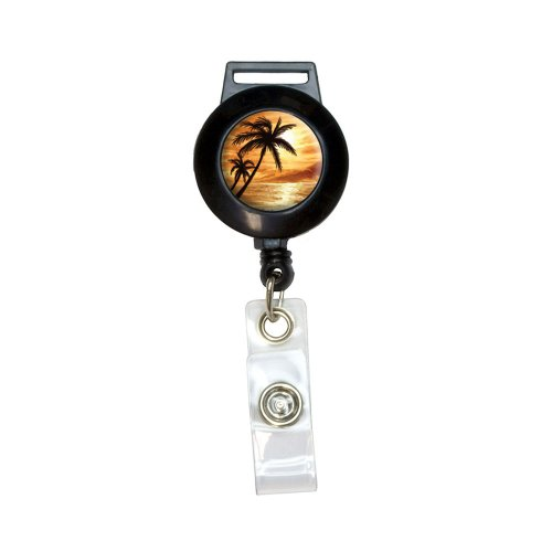 Orange Beach Sunset - Ocean Palm Tree Vacation Paradise Lanyard Retractable Reel Badge ID Card Holder