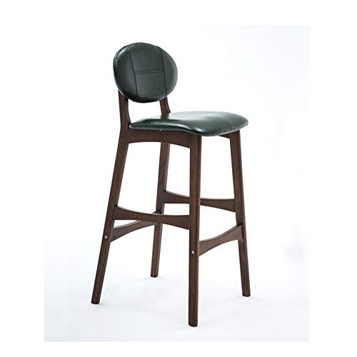 AGLZWY Bar Stools Dining Chairs with Backrest and Footrest Leather Seat Solid Wood Frame for Office Pub Bedroom ,Multiple Colour (Color : Green, Size : 45x48x101cm)