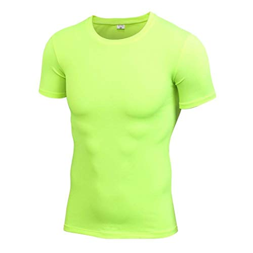 Men Compression T-Shirts Basketball Running Short Sleeve Quick Drying Fitness Tight Tops Green