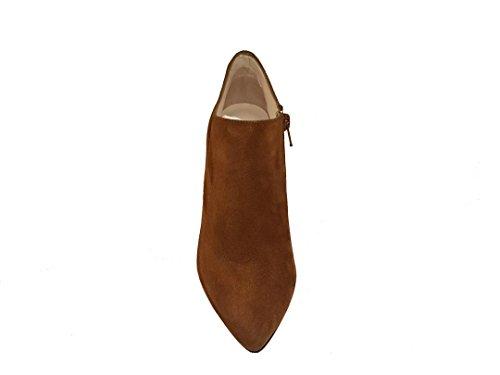 9 Cremallera Zapatos Cierre Cm Tacon Havana Mujer Punta Fina Con Gennia De Botines Piel Maliso Aguja Cerrada Y marron Ante ZwxCq1S8