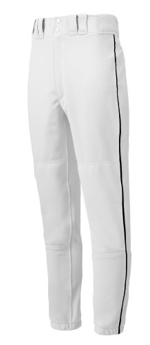 Mizuno Premier Piped Pant (White/Black, Small) by Mizuno