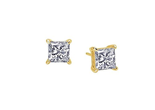 teel Gold Plated Studs Earrings Men Women 6x6 Square Princess Cut Basket Setting Cubic Zirconia Hypoallergenic Earrings ()