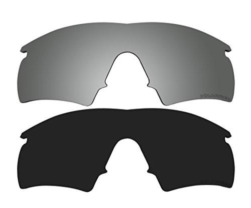2 Pairs Polarized Lenses Replacement Black & Black Mirror for Oakley M Frame Hybrid, New (1999) Sunglasses
