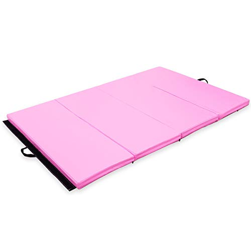 Exercise Mat 4'x6'x2 Gymnastics PU Thick Folding Panel Gym Fitness Pink with Ebook