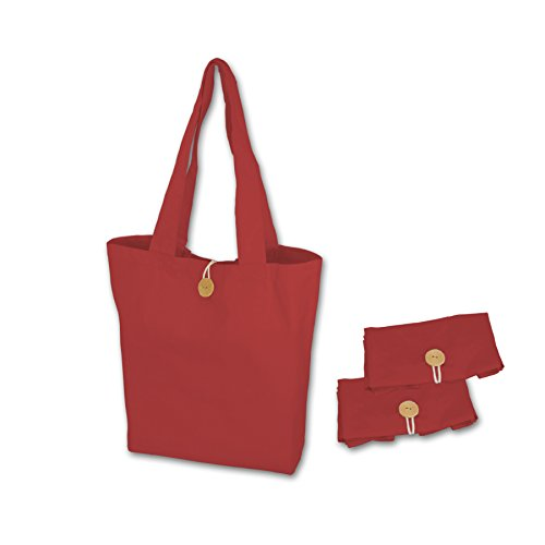- Simple Ecology Organic Cotton Reusable Folding Tote with Loop & Button Closure - Red 3 Pack (shopping & grocery bags, washable, foldable, craft & gift bag, handbag, handles, loop & button closure)