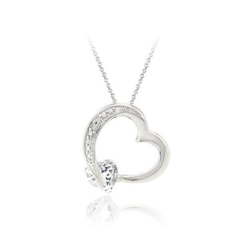 - Glitzs Jewels Sterling Silver White Topaz & Simulated Diamond Accent Floating Open Heart Necklace