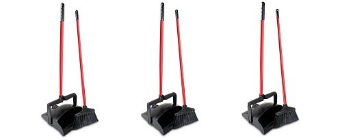 Libman Commercial 919 Lobby Dust Pan and Broom Set (Open Lid), 41'' Length, 12'' Width, Black/Red (Pack of 2) (3-(Pack of 2)) by Libman Commercial