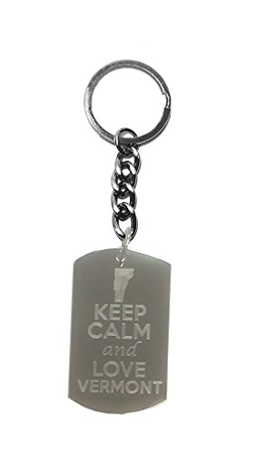 Hat Shark Keep Calm and Love Vermont State Logo - Metal Ring Key Chain ()
