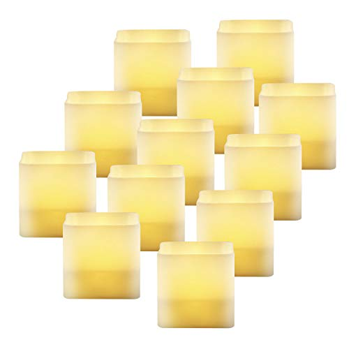 Welltop 12 PCS LED Flameless Candles Tealight Candles Battery Operated Flickering Candles for Birthday, Votive, Weddings, Celebration & Decoration