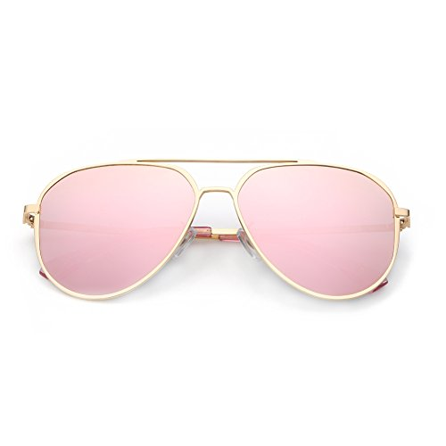 DONNA Unisex Retro Polarized Mirrored Aviator Sunglasses with Oversized Anti-glare Lens Double Bridge Unbreakable Frame D24(Rose - Sunglasses Unbreakable Aviator