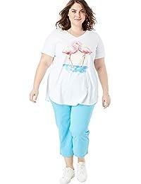 59b682083df Women s Plus Size Two-Piece V-Neck Tunic   Capri Set