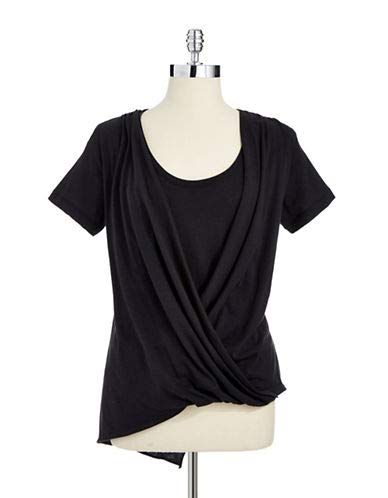 DKNY Short-Sleeve Draped Tee Black Size S ()
