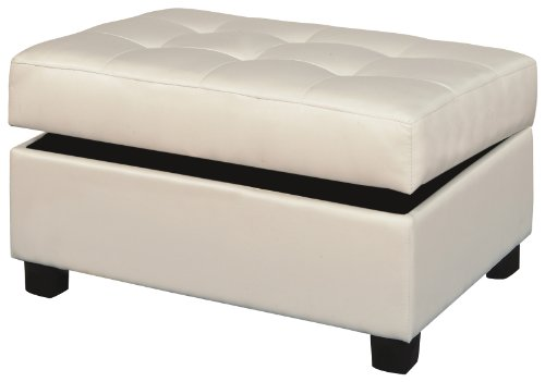 Amazoncom Bobkona Bonded Leather Match Storage Ottoman Cream