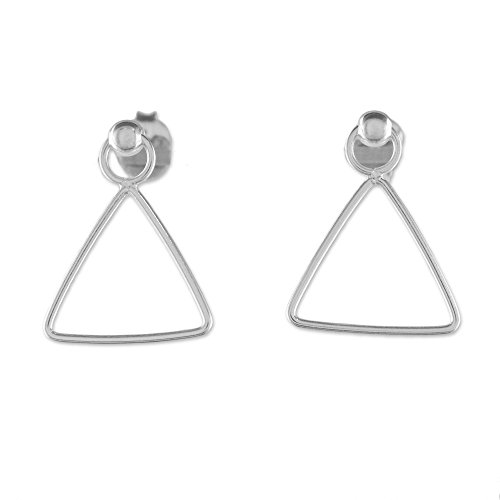 NOVICA .925 Sterling Silver Dangle Earrings 'Elegant Triangle'