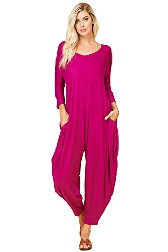 Annabelle Women's Long Sleeve Comfy Harem Jumpsuit Romper with Pockets Magenta Pink 2X-Large J8002X (Pink Jumpsuit)
