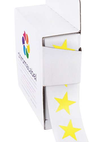 "3/4"" Yellow Star Stickers in Dispenser Box - 1,000 Labels per Box, Permanent Adhesive"