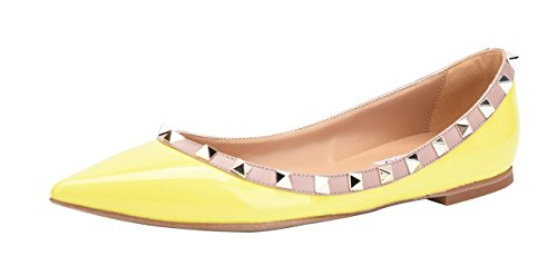 Camssoo Donna Rivetti Classici Punta A Punta Slip On Comfort Flats Dress Pumps Shoes Yellow Patant Pu