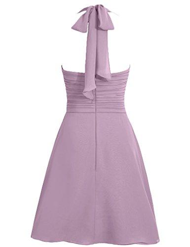 Cdress Simple, Licol Robes Courtes Demoiselle D'honneur Bretelles En Mousseline De Soie Des Robes De Bal Fête De Mariage Champagne