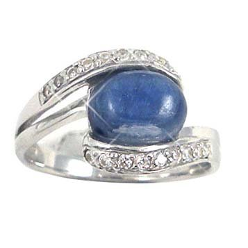 Sterling Silver Ring with Oval Kyanite and Round White CZ (BTS-NRB6526/KYA) - Size 7.75