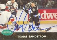 Tomas Sandstrom Los Angeles Kings 1991 Parkhurst Autographed Card. This item comes with a certificate of authenticity from Autograph-Sports. Autographed -